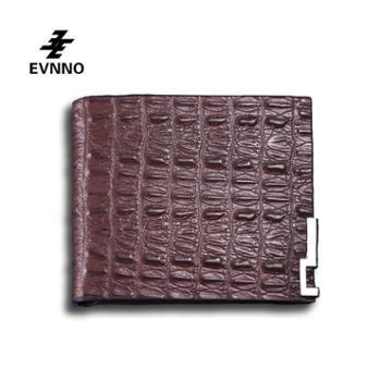 意威诺(evnno)短款钱包超薄鳄鱼纹头层牛皮钱夹Q0451