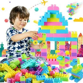 儿童颗粒塑料益智拼装积木幼儿园7-8-10男女孩宝宝玩具3-6周岁