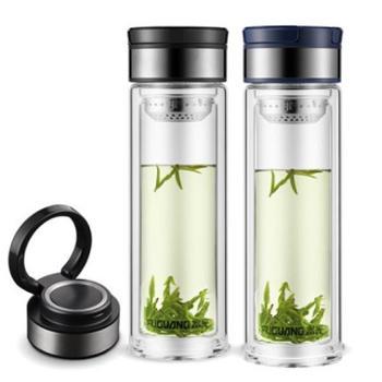 富光玻璃杯大容量双层泡茶杯便携男女士车载透明玻璃水杯定制杯子