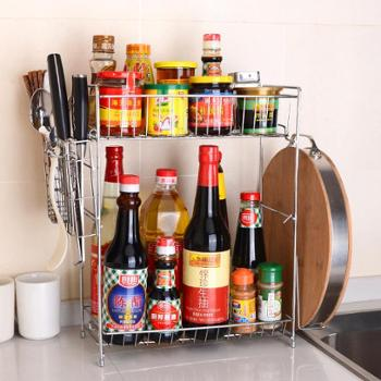 双层不锈钢调料架可挂墙刀架调味架厨房用具