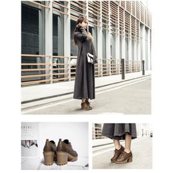新款梦中人圆头复古色优质耐磨牛筋底内里超纤皮女单鞋N295-3