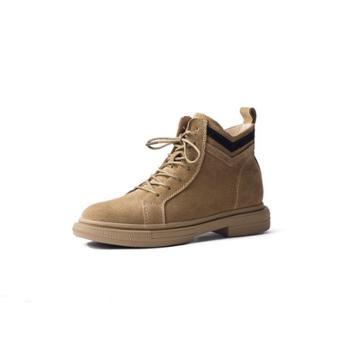 自由绽放KISSQUEEN新款女牛皮马丁靴低帮透气防滑女短靴3089