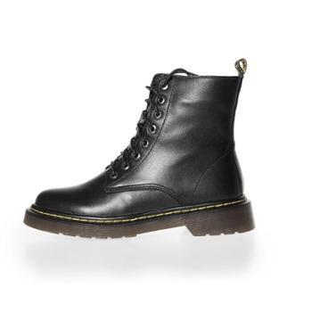 自由绽放KISSQUEEN新款头层牛皮女款马丁靴柔软舒适耐磨高中帮单绒里可选女马丁靴F873-1