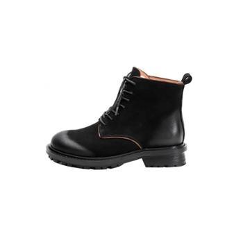 自由绽放KISSQUEEN羊翻皮马丁靴瘦瘦靴新款春秋短靴系带马丁靴女英伦风女靴D118-128