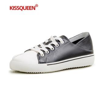 自由绽放KISSQUEEN新款女休闲鞋小白鞋牛皮透气两穿可拖可穿女鞋3096