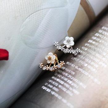韩国代购925纯银后挂式耳钉女简约气质花朵耳环百搭耳饰品防过敏H008