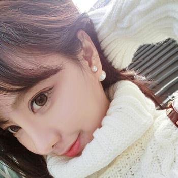 纯银双面珍珠耳钉耳环韩国时尚925纯银大小气泡耳饰品女款防过敏TY