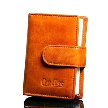 ouliss真皮卡包女士多卡位日韩版高档油蜡牛皮信用卡片包男大容量