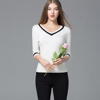 2017春季新款打底衫莫代尔棉V领修身撞色七分袖针织衫女春