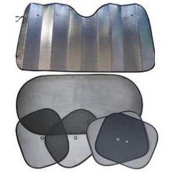 8090灰色夏季汽车遮阳挡6件套纱网铝膜全车太阳挡套装冰凉遮阳用品6件套五座车通用