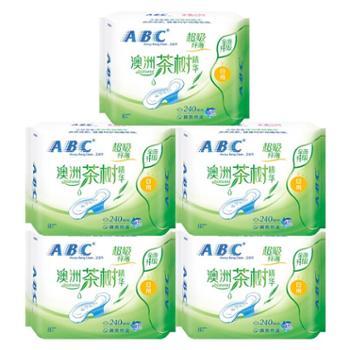 ABC卫生巾澳洲茶树精华系列卫生巾纤薄日用棉柔表层240mm5包40片