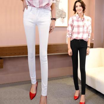 女士牛仔裤女小脚裤新款牛仔铅笔裤长裤弹力修身黑色学生韩版女裤