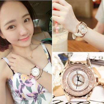 手表女时尚韩国潮流学生韩版休闲时装表石英表气质水钻皮带女腕表