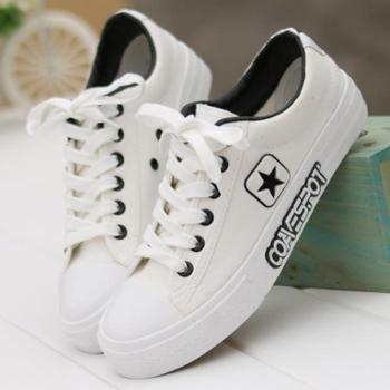 春夏新款系带运动帆布鞋女学生韩版休闲鞋黑白色球鞋透气平底鞋单