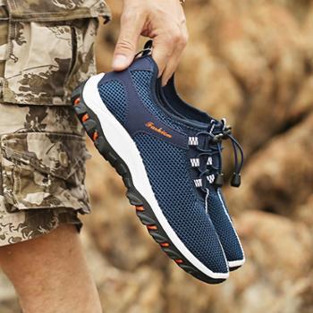 夏季男士休闲鞋透气男鞋网眼户外登山运动鞋镂空网鞋网面跑步鞋男
