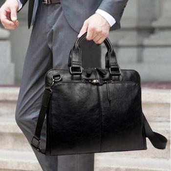 男包商务男士手提包横款公文包男单肩斜挎包休闲男士包包电脑皮包12
