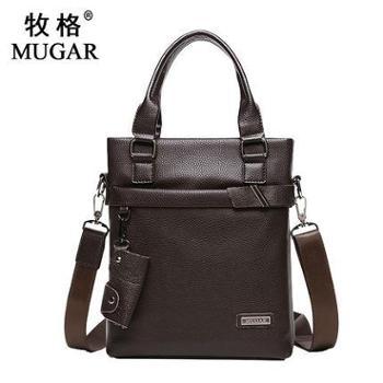 MUGAR/牧格真皮男包单肩包男士商务手提包竖款斜挎公文包牛皮包包