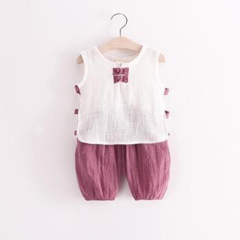 儿童棉麻吊带套装2016夏季新款韩系男童女童宝宝短裤休闲两件套装