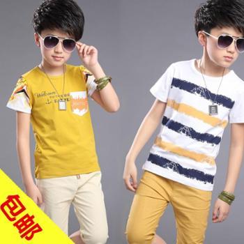 童装男童夏装456儿童纯棉短袖运动套装潮7-8-9-12岁男孩夏季衣服