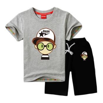 男童短袖套装夏装2016新款童装运动休闲服潮宝宝中大童儿童小男孩