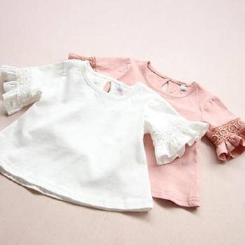 童装女童蕾丝短袖T恤儿童圆领上衣打底衫上衣2016夏装新款0006
