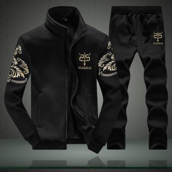 新品春秋男士运动套装长袖两件套时尚韩版潮流卫衣男式跑步服JCD38