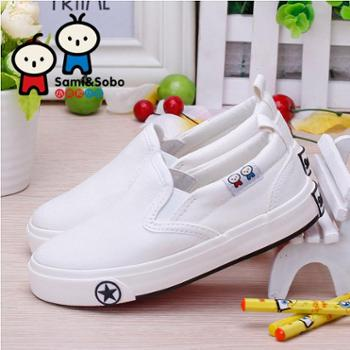 小美和小宝童鞋男童球鞋宝宝帆布鞋板鞋小白鞋女童鞋2016新款