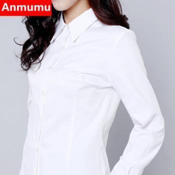 韩棉春秋白衬衫女长袖职业加绒V领修身工作服正装大码衣女装ol