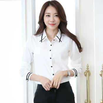 春秋韩版雪纺衬衫长袖修身休闲白色上衣搭配穿衬衣女打底衫白衬衫