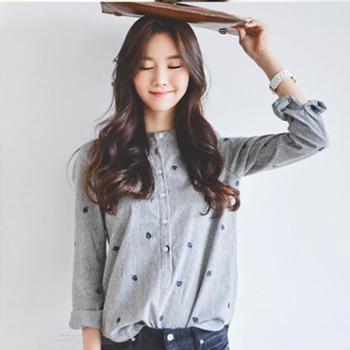 秋冬季韩版小清新条纹立领衬衣树叶刺绣百搭显瘦长袖打底衬衫女
