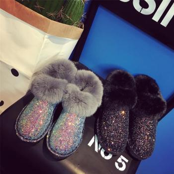 豆豆鞋女加绒冬季新款雪地靴女短靴厚底短筒学生棉鞋亮片雪地棉女