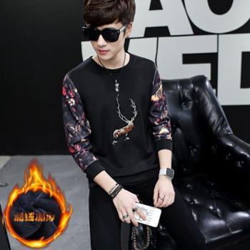 秋冬保暖长袖T恤加绒加厚 男士卫衣韩版青少年圆领套头装体恤外套
