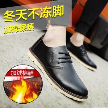 男鞋秋季潮鞋冬季棉鞋男英伦皮鞋男士休闲鞋加绒豆豆鞋大头工装鞋