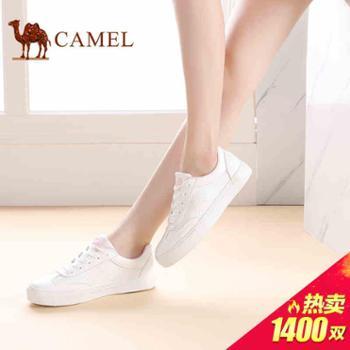 骆驼女鞋情侣款新款镂空小白鞋透气女单鞋平底系带韩版板鞋