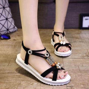 韩版夏季波西米亚平底女凉鞋防滑平跟百搭休闲学生女鞋