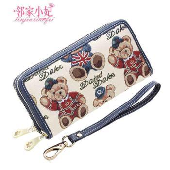 邻家小妃女士钱包女长款日韩版学生可爱小熊双拉链欧美手拿包皮夹