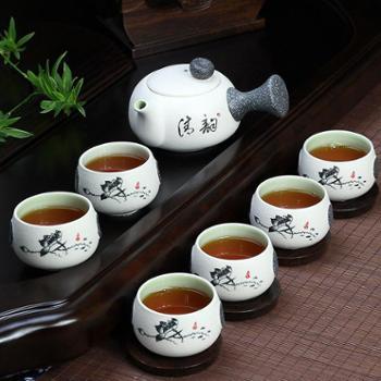 创意雪花釉陶瓷功夫茶具套装家用茶具套装茶壶茶杯套装整套茶具