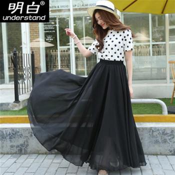 黑色裙子新款女雪纺半身裙长裙夏高腰a字裙中长款春秋网纱裙2
