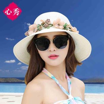 帽子女夏遮阳帽可折叠草帽女太阳帽海边度假沙滩帽大沿防晒帽