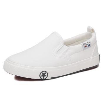 小美和小宝童鞋儿童白色帆布鞋男童女童布鞋秋季韩版时尚新款小白鞋