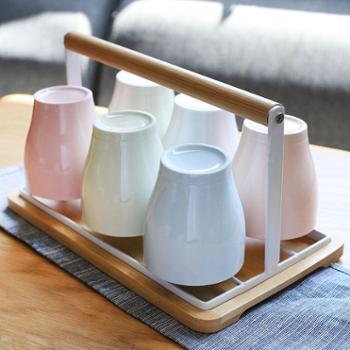 简约茶杯杯具套装水具家用茶具茶水杯子瓷杯客厅6只陶瓷水杯套装