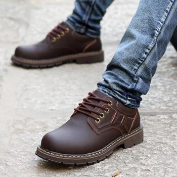 工装鞋男真皮低帮英伦休闲靴子大头皮鞋韩版马丁鞋秋季百搭鞋子潮