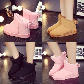 新款冬季雪地靴磨砂潮女鞋平底短筒短靴防水加绒加厚保暖棉鞋女靴