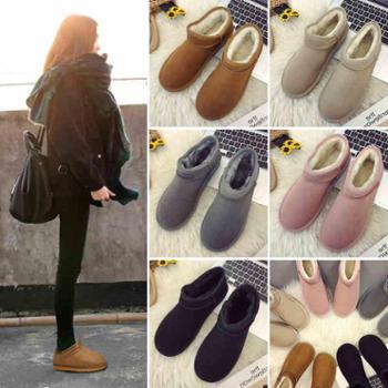短筒雪地靴女冬季新款韩版百搭加绒保暖一脚蹬学生棉鞋小短靴