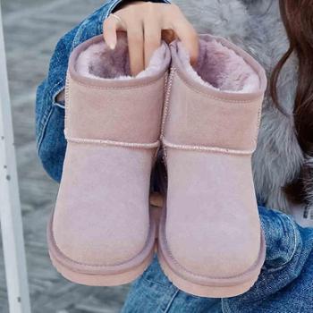 反季清仓真牛皮雪地靴女短筒短靴子学生韩版百搭女鞋年秋冬季