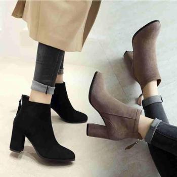 欧洲站新款韩版高跟靴子女秋冬百搭真皮短靴马丁靴棉靴