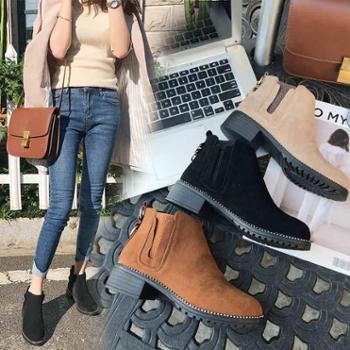 马丁靴女秋季新款短靴英伦风学生韩版百搭真皮ins超火裸靴女