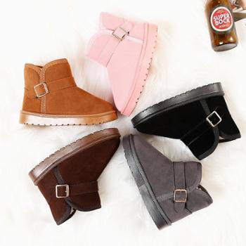 儿童雪地靴保暖棉鞋冬季新款加绒女童短靴男童宝宝防水靴鞋子