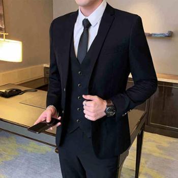 易文韩版修身西装套装男士商务休闲青少年小西服外套结婚礼服职业正装