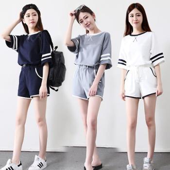 短袖短裤运动套装女夏新款少女18学生宽松跑步休闲两件套女